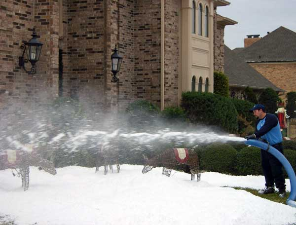 Snow Blowing on Home Yard In Houston