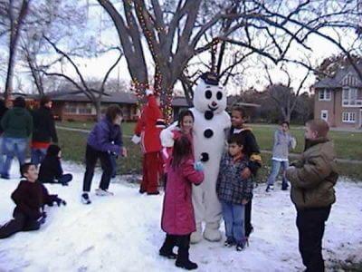 Snowman on Blown Snow in Houston