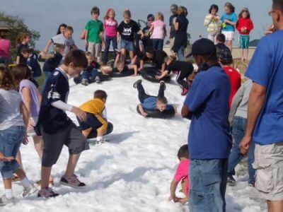 Tubing Fun Down Snow Slide